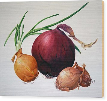 Onion Medley Wood Print by Margit Sampogna