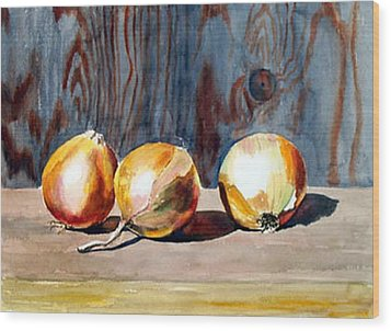 Onions In The Sun Wood Print by Anne Trotter Hodge