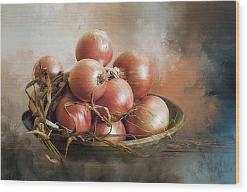 Wood Print featuring the photograph Onions by Robin-Lee Vieira