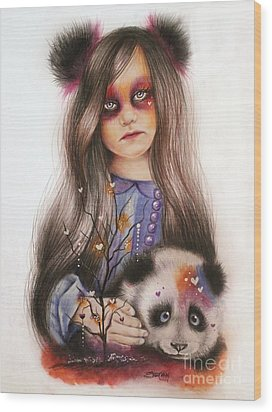 Wood Print featuring the drawing Only Friend In The World - Panda Precious by Sheena Pike