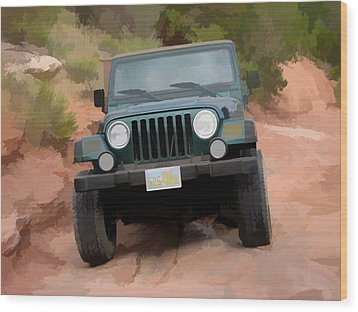 Only Jeeps Here Wood Print