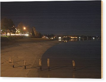Wood Print featuring the photograph Onset Beach At Night by Greg DeBeck