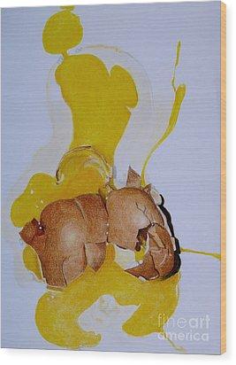 Oops Broken Egg Wood Print by Sheron Petrie