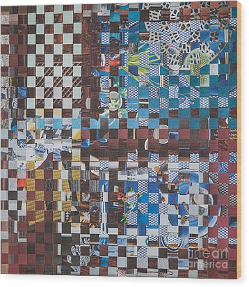 Wood Print featuring the mixed media Op Art 102 by Jan Bickerton