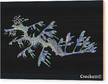 Opalised Sea Dragon Wood Print by Gary Crockett