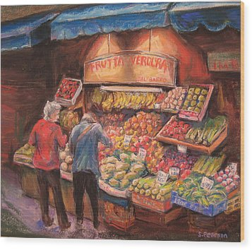 Open Air Market  Bologna Wood Print by Sam Pearson