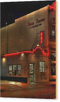 Open All Nite-texas Tavern Wood Print by Dan Stone