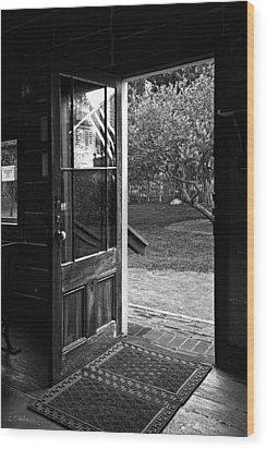 Open Door B-w Wood Print by Christopher Holmes