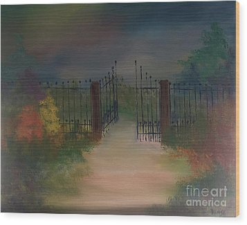Wood Print featuring the painting Open Gate by Denise Tomasura