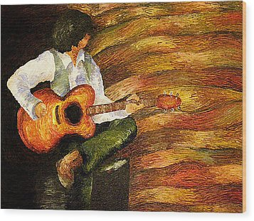 Wood Print featuring the painting Open Mic Night by Meagan  Visser