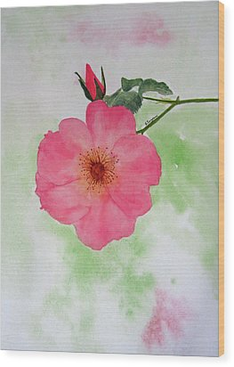 Open Rose Wood Print