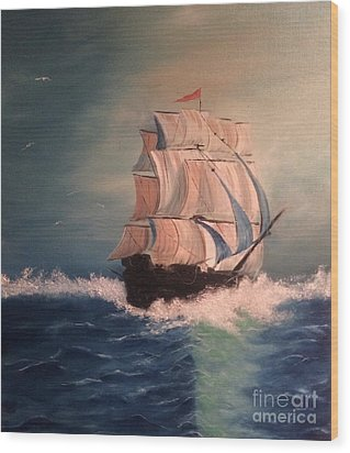 Wood Print featuring the painting Open Seas by Denise Tomasura