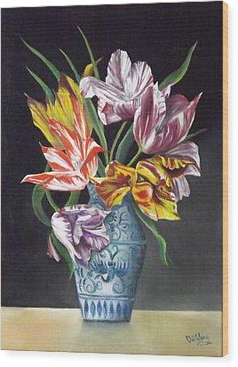Open Tulips Wood Print