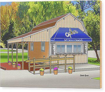 Opie's Snowball Stand Wood Print by Stephen Younts