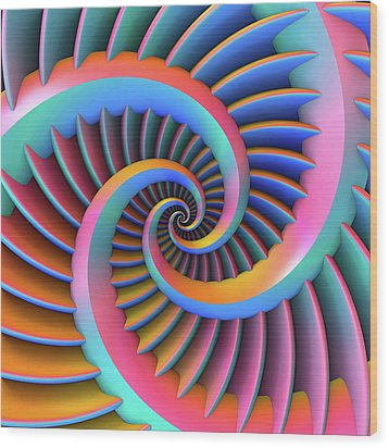 Wood Print featuring the digital art Opposing Spirals by Lyle Hatch
