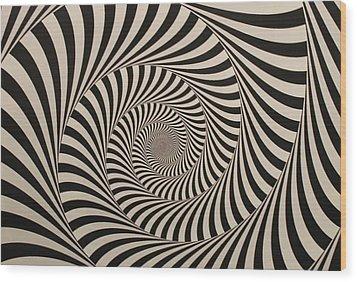 Optical Illusion Beige Swirl Wood Print by Sumit Mehndiratta