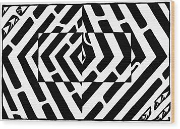 Optical Illusion Maze Of Floating Box Wood Print by Yonatan Frimer Maze Artist