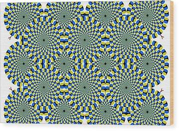 Optical Illusion Spinning Circles Wood Print by Sumit Mehndiratta