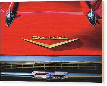 Orange '57 Chevy Wood Print by Douglas Pittman
