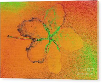 Orange Abstract Flower By Jasna Gopic Wood Print by Jasna Gopic
