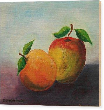 Apple And Orange Wood Print