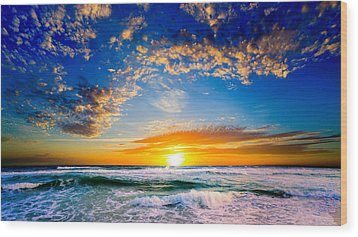 Wood Print featuring the photograph Orange And Blue Sunset Sun Setting Over The Ocean by Eszra Tanner