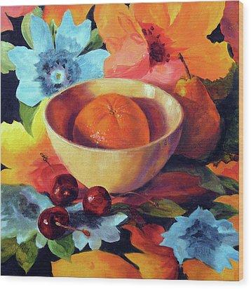 Orange And Cherries Wood Print by Marina Petro