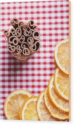 Orange And Cinnamon Wood Print by Nailia Schwarz