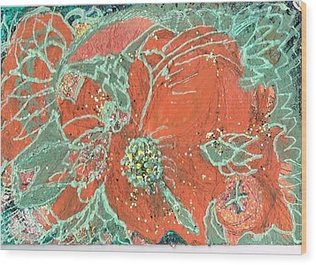 Orange And Green And A Tangerine Wood Print by Anne-Elizabeth Whiteway