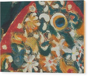 Orange And Multi Colored Fish Up Close Wood Print by Anne-Elizabeth Whiteway