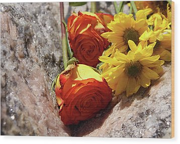 Orange And Yellow On Pink Granite Wood Print