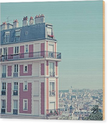 Orange Apartment Building With View Over Paris Wood Print by Cindy Prins