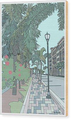 Wood Print featuring the digital art Orange Avenue by Megan Dirsa-DuBois