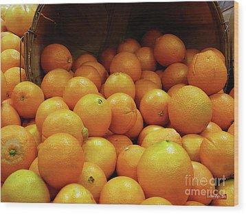 Orange Basket Wood Print