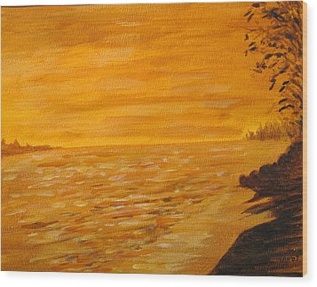 Wood Print featuring the painting Orange Beach by Ian  MacDonald