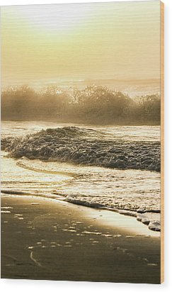 Wood Print featuring the photograph Orange Beach Sunrise With Wave by John McGraw