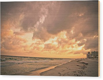 Orange Beach Wood Print by Victoria Lawrence