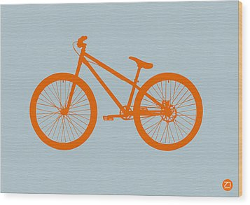 Orange Bicycle  Wood Print by Naxart Studio