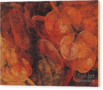 Wood Print featuring the digital art Orange Blossom Abstract by Andee Design