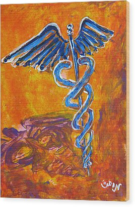 Wood Print featuring the painting Orange Blue Purple Medical Caduceus Thats Atmospheric And Rising With Mystery by M Zimmerman