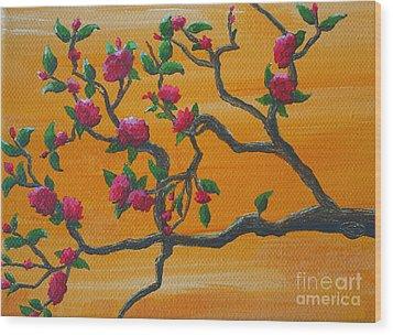 Orange Branch Wood Print