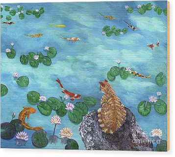 Orange Cat At Koi Pond Wood Print by Laura Iverson