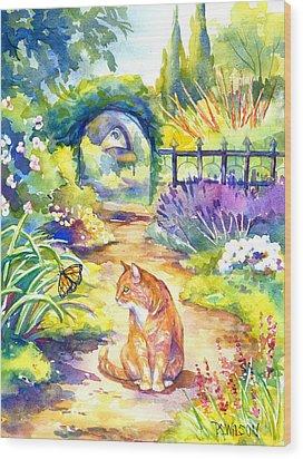 Orange Cat In The Garden Wood Print by Peggy Wilson