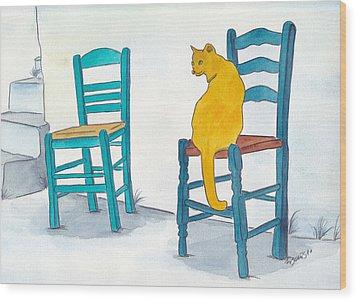 Orange Cat Wood Print by Michaela Bautz