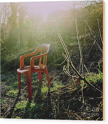 Orange Chair Wood Print by Bernard Jaubert