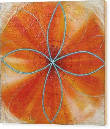 Orange Chakra Wood Print by Anne Cameron Cutri