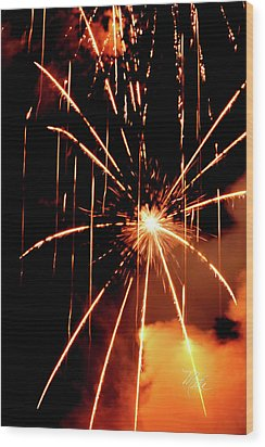 Orange Chetola Fireworks Wood Print
