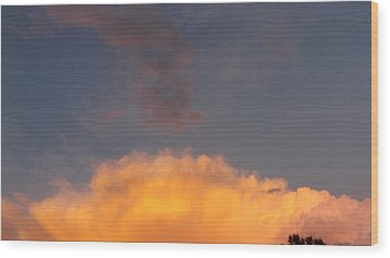 Orange Cloud With Grey Puffs Wood Print