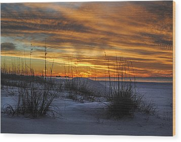 Orange Clouded Sunrise Over The Pier Wood Print by Michael Thomas