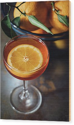 Orange Cocktail Wood Print by Happy Home Artistry
